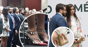 Bolsa de 100 mil pesos y pumps Valentinos, look de nuera de AMLO en Tercer Informe